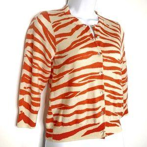 J. CREW Cardigan Sweater Zebra Print Orange Size M